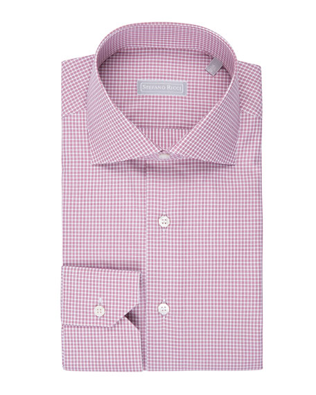 Fine-Stripe Plaid Cotton Shirt, Burgundy