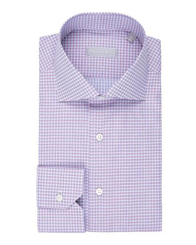 Fine-Stripe Plaid Cotton Shirt