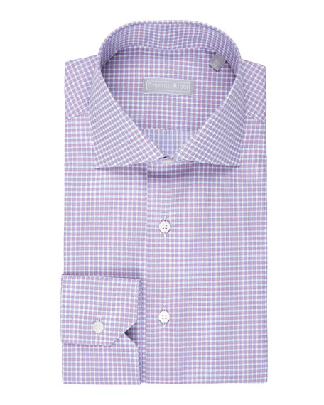 Fine-Stripe Plaid Cotton Shirt