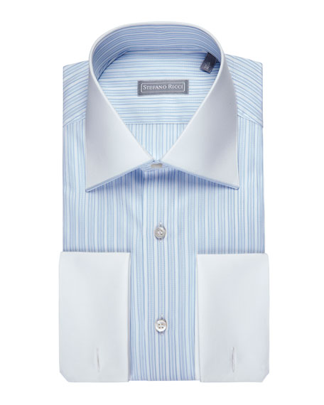 Striped Jacquard Dress Shirt with Solid Collar & Cuffs