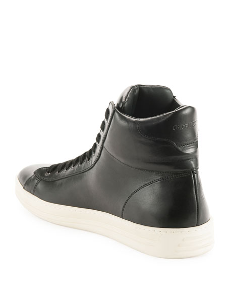 TOM FORD Russel Leather High-Top Sneaker, Black