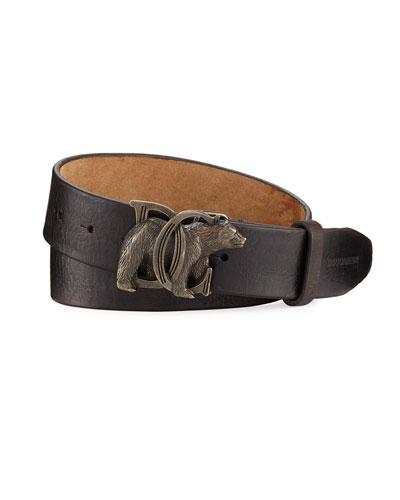 Bear-Buckle Leather Belt, Brown