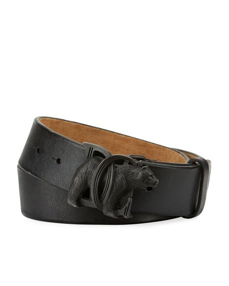 Dsquared2 Bear-Buckle Leather Belt, Black