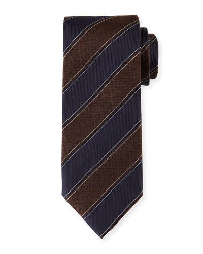 Melange-Striped Silk Tie