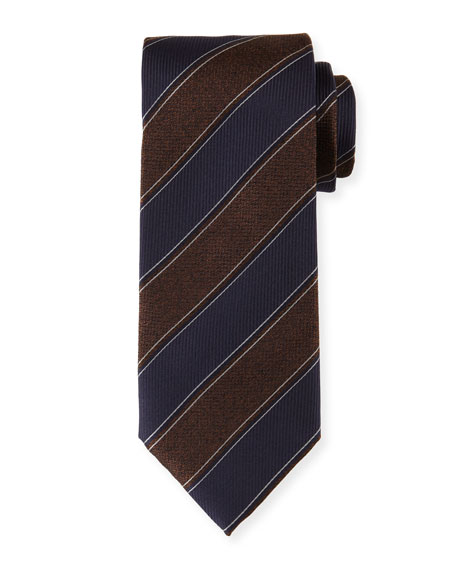 Canali Melange-Striped Silk Tie