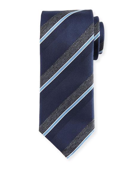 Canali Melange-Stripe Silk Tie, Navy/Gray