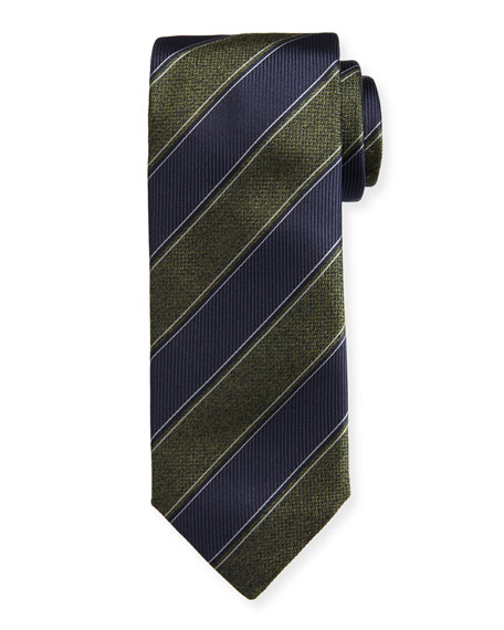 Canali Herringbone Striped Silk Tie