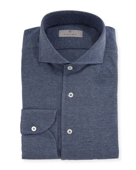 Knit Barrel-Cuff Dress Shirt