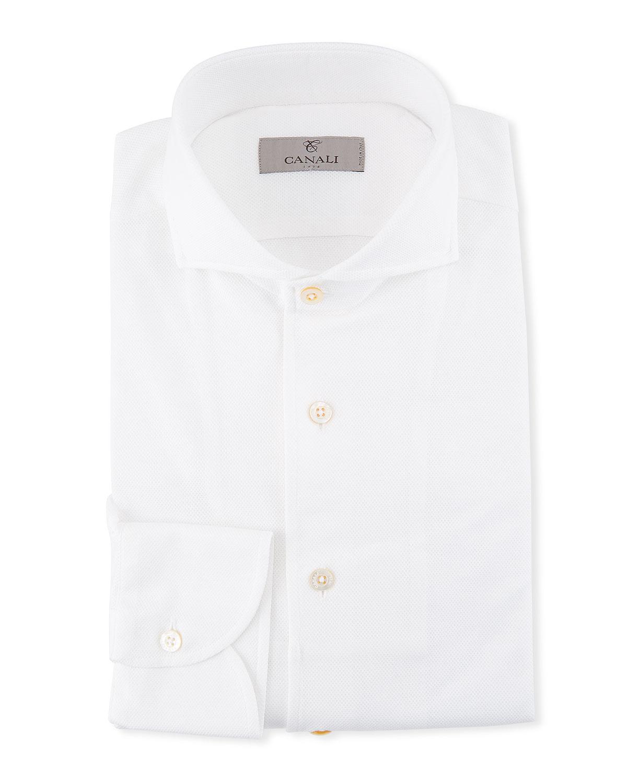 Canali Mens Pique Knit Dress Shirt Neiman Marcus