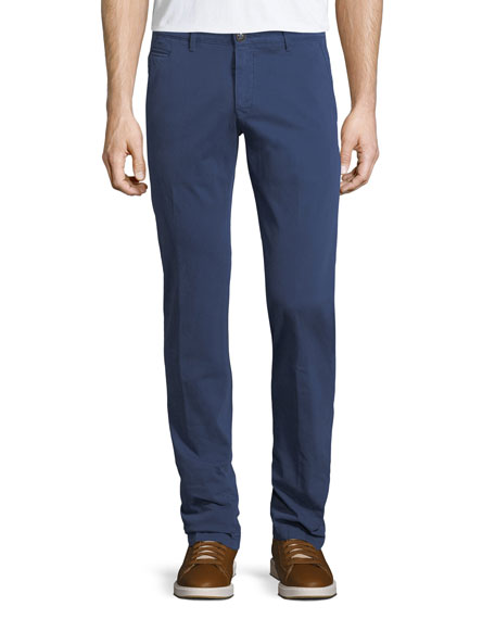 Jacob Cohen Stretch Chino Flat-Front Pants, Blue