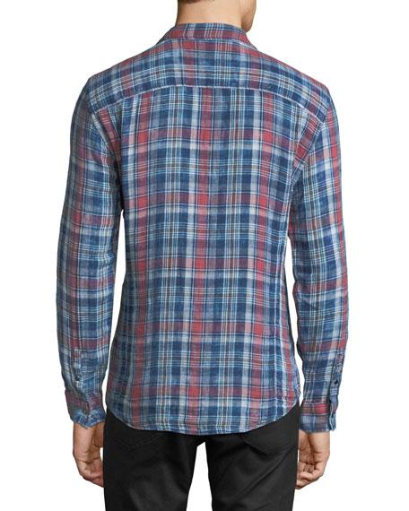 Plaid Snap-Front Sport Shirt