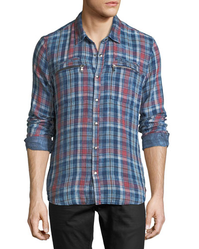 Plaid Snap-Front Sport Shirt