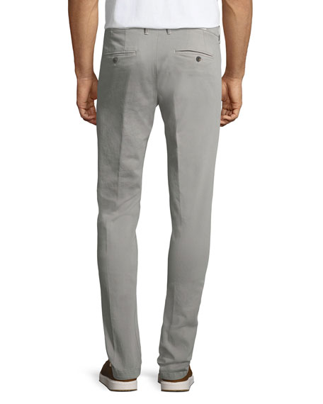 Stretch Chino Flat-Front Pants, Light Gray