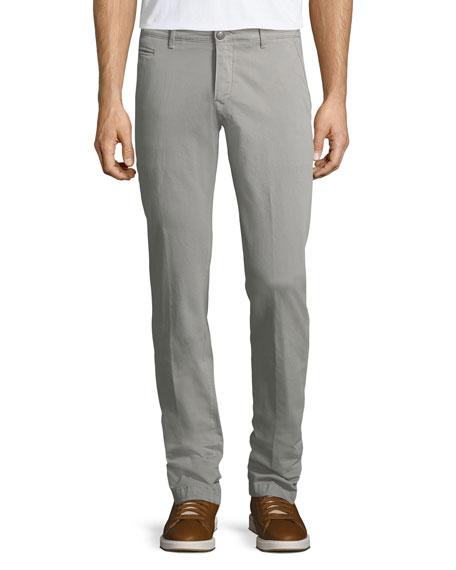 Jacob Cohen Stretch Chino Flat-Front Pants, Light Gray