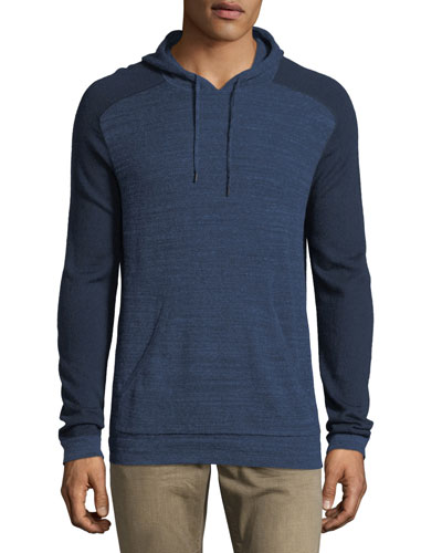 Saddle-Shoulder Cotton-Wool Hoodie