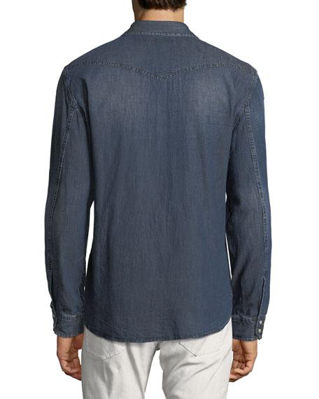 Denim Snap-Front Sport Shirt