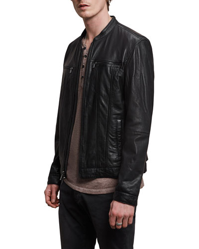 Leather Jacket with Band Col