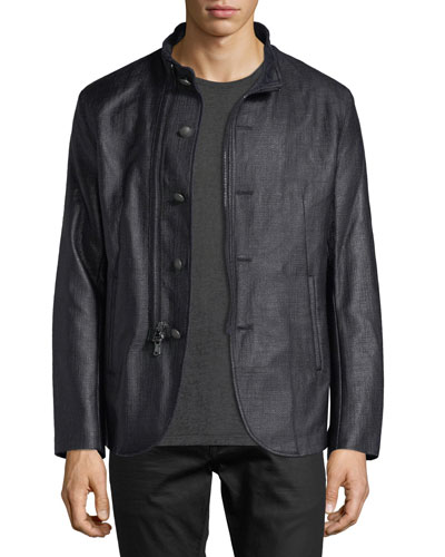 Stand-Collar Button/Zip-Front Jacket