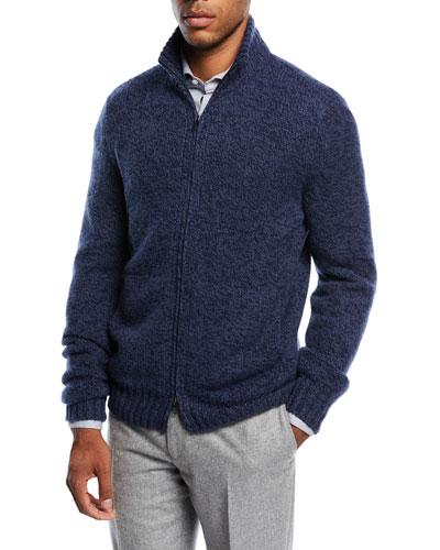 Cashmere Eaglecrest Zip-Front Sweater