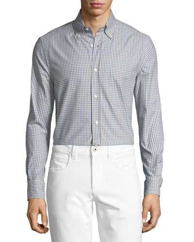Alfred Gingham Cotton Sport Shirt