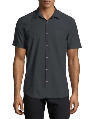 Slim Fit Short Sleeve Button