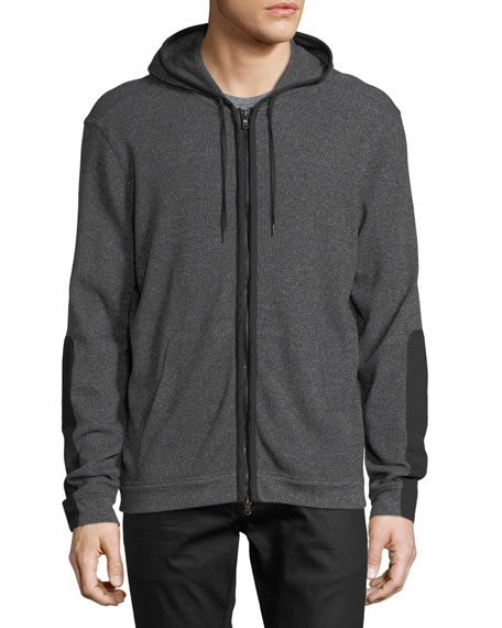 Waffle-Knit Zip-Front Hoodie