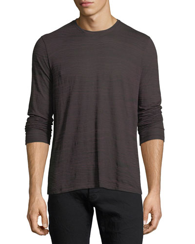 Long-Sleeve Printed Ramie-Blend T-Shirt