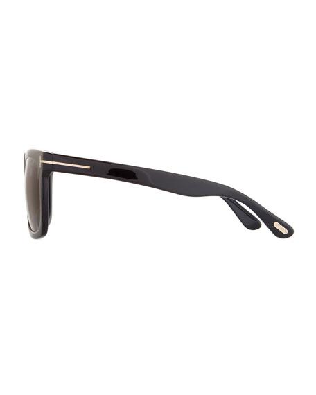 Morgan Thick Square Acetate Sunglasses, Black/Smoke