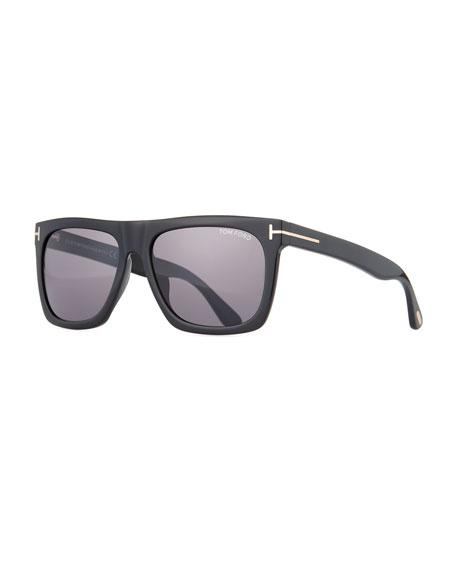 TOM FORD Morgan Thick Square Acetate Sunglasses, Black/Smoke