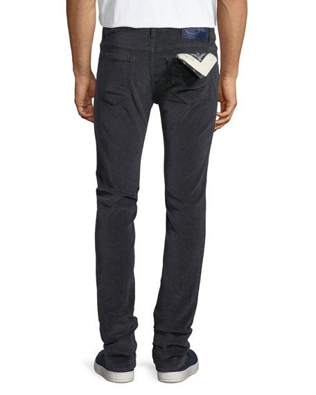 Five-Pocket Stretch-Corduroy Pants, Gray