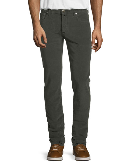 Jacob Cohen Five-Pocket Stretch-Corduroy Pants, Olive