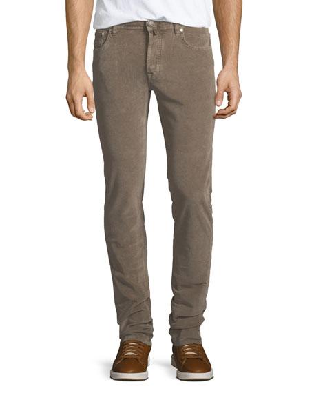Five-Pocket Stretch-Corduroy Pants, Khaki