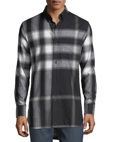 Urban Check Cotton Flannel Shirt, Black