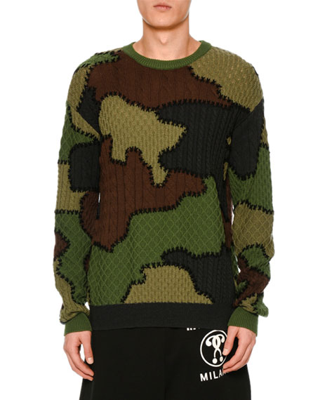 Camouflage Virgin Wool Patchwork Sweater