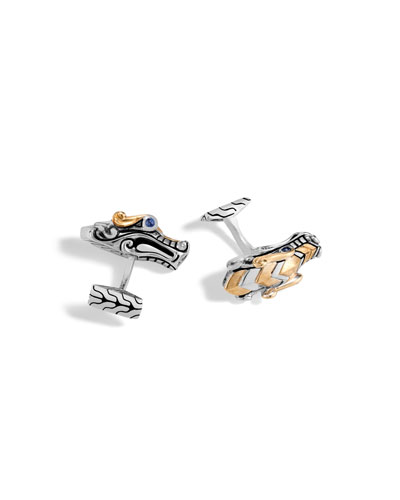 Men's Legends Naga Dragon Sterling Silver & 18K Gold Cuff Links