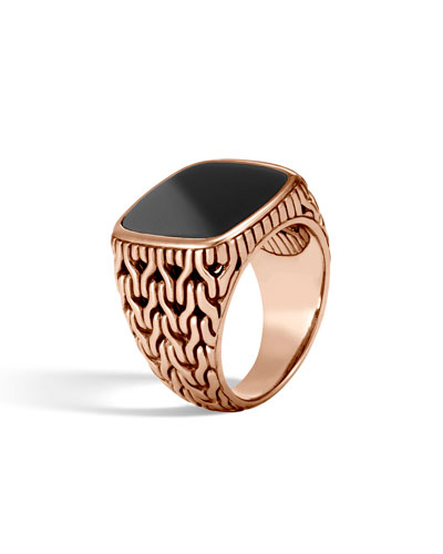 Classic Chain Bronze Signet Ring with Onyx