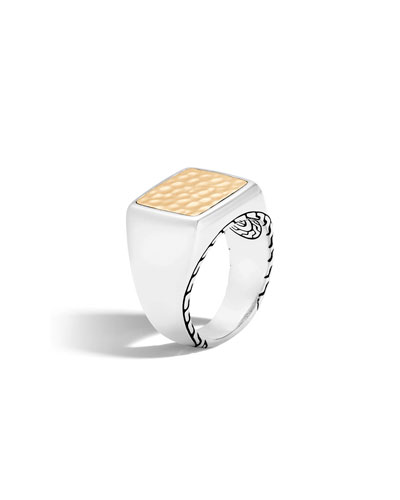 Men's Classic Chain Sterling Silver & Hammered 18K Gold Signet Ring