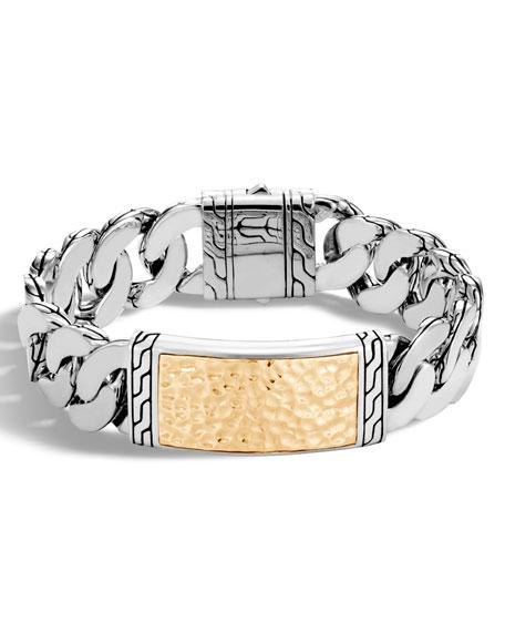 Sterling Silver & Hammered 18K Gold ID Bracelet