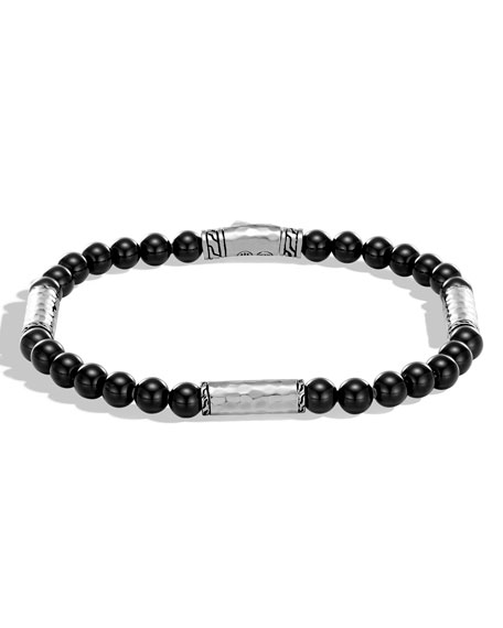 Men's Classic Chain Hammered Sterling Silver & Onyx Bead Bracelet