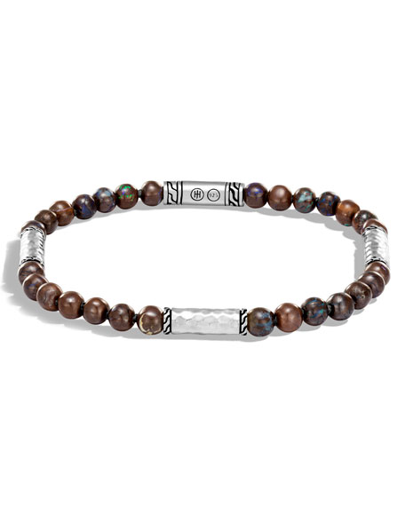 Men's Classic Chain Hammered Sterling Silver & Boulder Opal Bead Bracelet