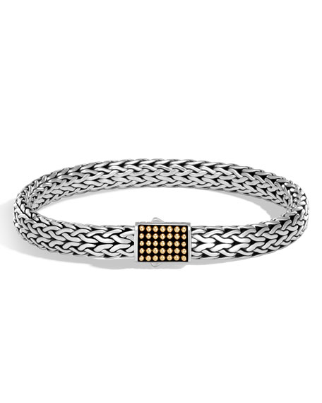 John Hardy Mens Classic Chain Silver Jawan Flat Chain Bracelet TT7tYUm