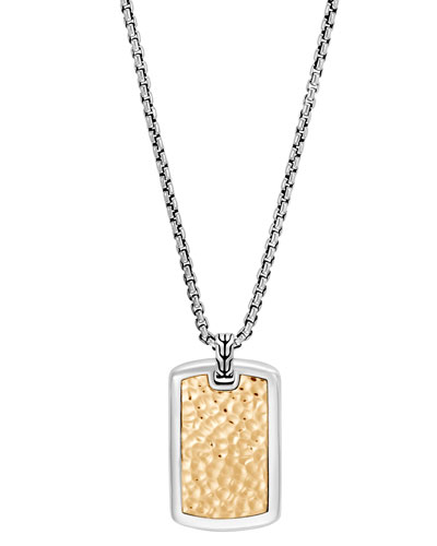 Men's Classic Chain Sterling Silver & Hammered 18K Gold Dog Tag Necklace