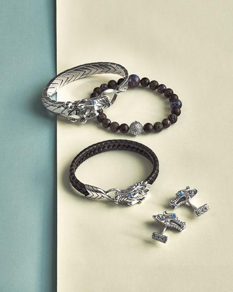 Men's Classic Chain Boulder Opal & Onyx Bead Bracelet