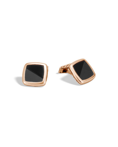 Classic Chain Onyx & Bronze Cuff Links