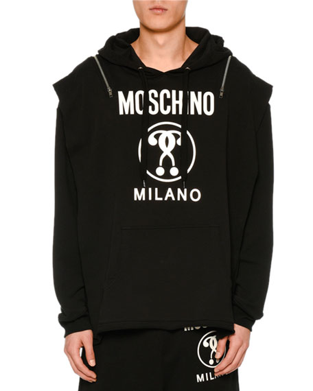 Moschino Zip-Shoulder Question Mark Logo Hoodie