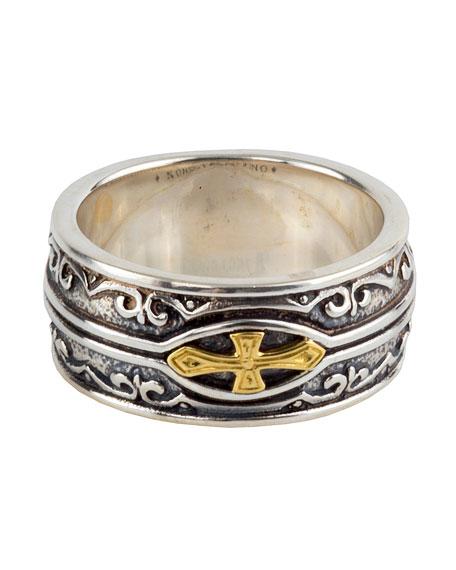 Men's Sterling Silver & 18K Gold Cross Ring