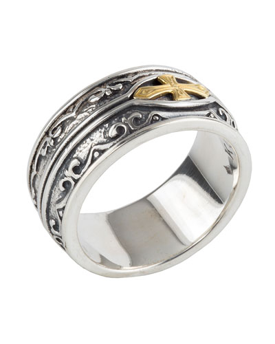 Men's Sterling Silver & 18K Gold Cross Ring