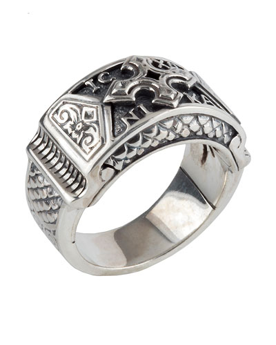 Men's Sterling Silver Christogram Cross Ring