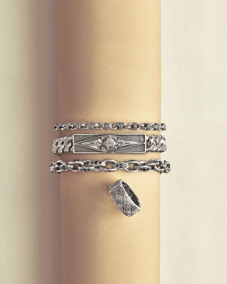 Men's Plato Sterling Silver Link Bracelet with Black Spinel