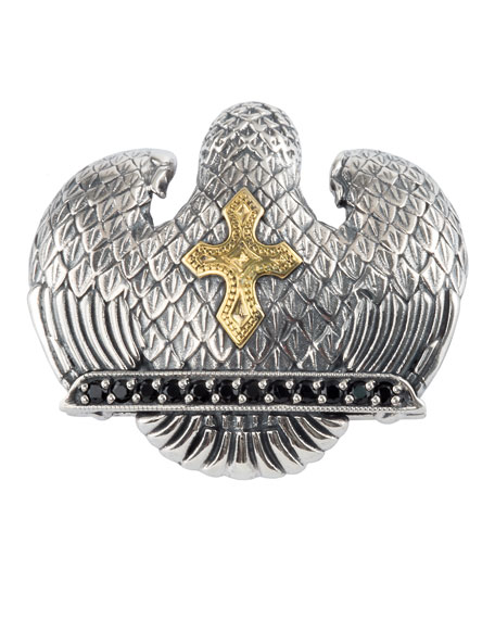 Men's Sterling Silver & 18K Gold Eagle Pendant with Spinel